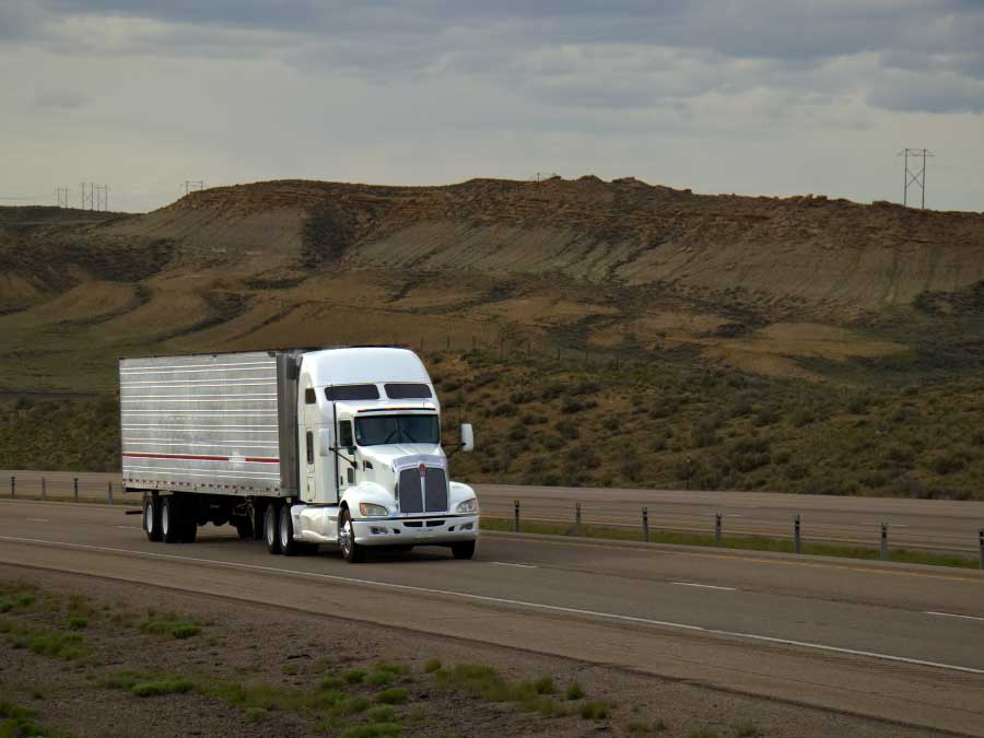 Truck driving on I-80 in Wyoming