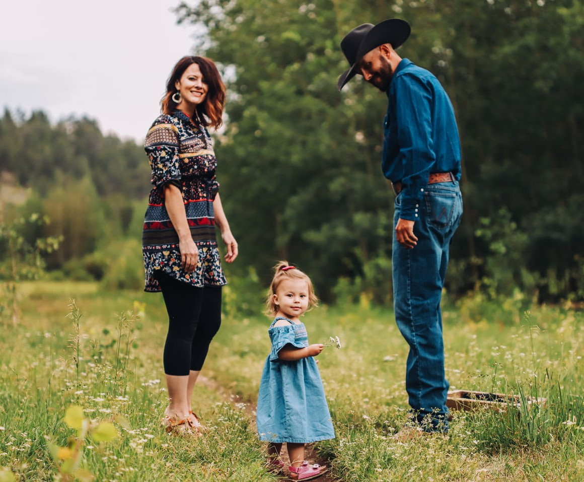 Kristie Cowdin walking with family