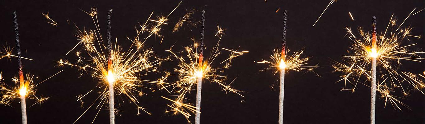 Sparklers against a dark background