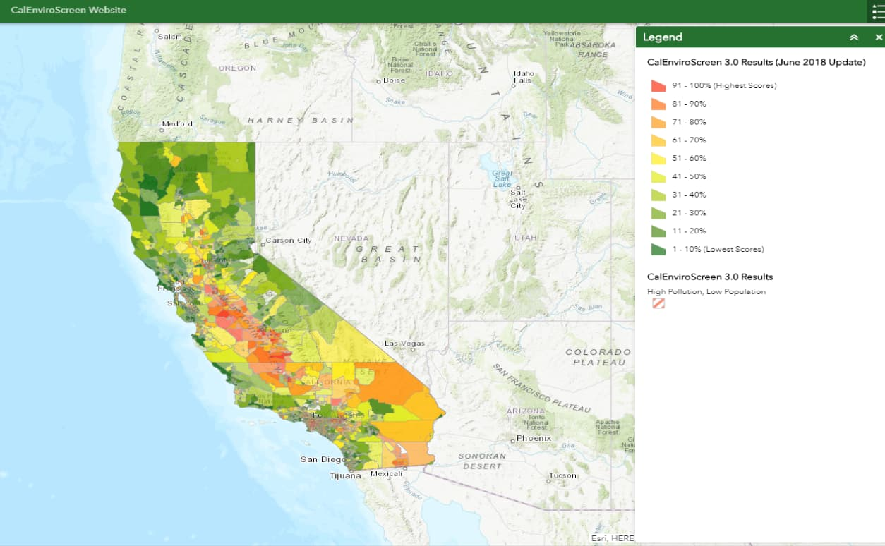 Screenshot of CalEnviroScreen