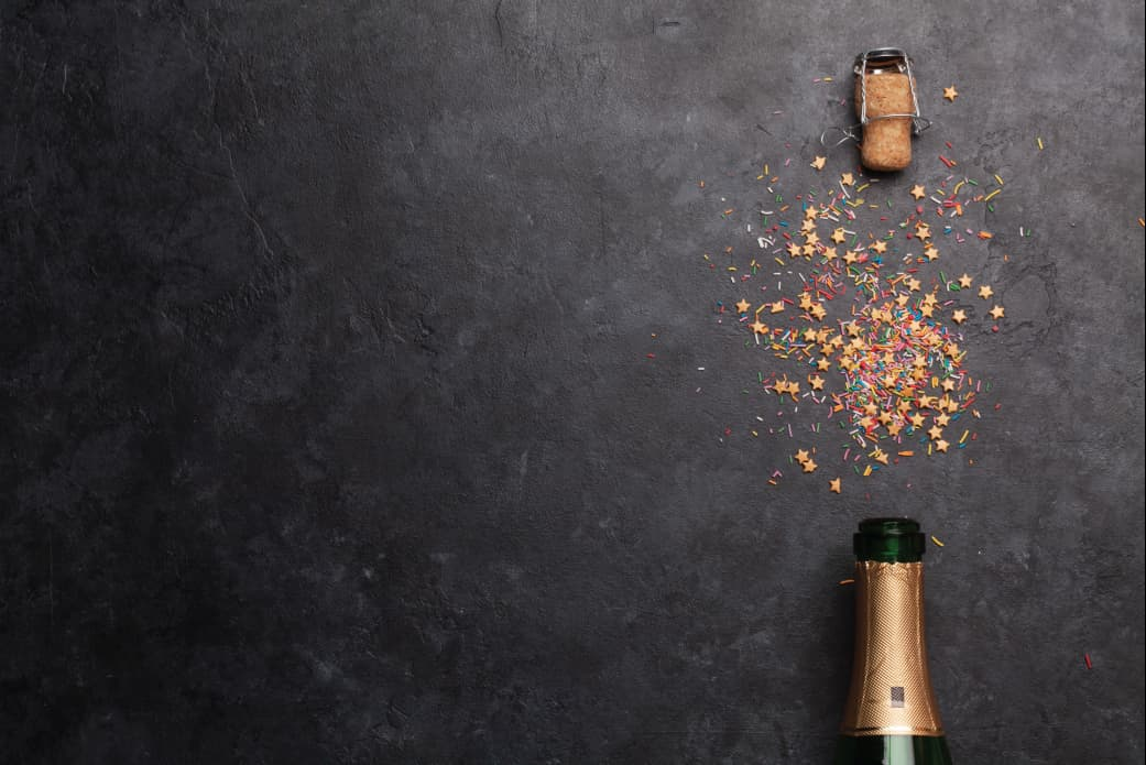 New Year's Eve champagne and confetti
