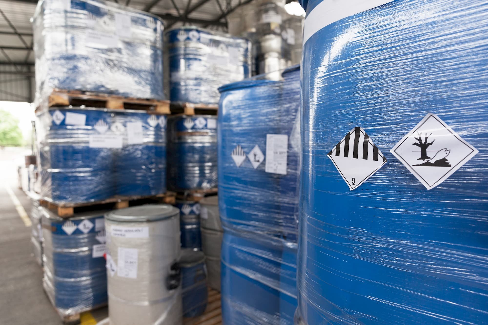 hazardous waste barrels in storage